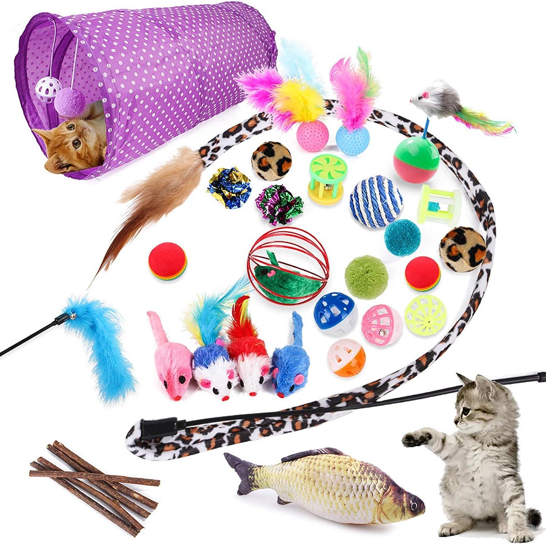 McNory 28PCS Juguetes para Paquete de Variedad para Gatitos, Set di Juguetes para Gatos Interactivo Ratón,Ratóns y Bolas Varias para Gatos Juguetes para Gatos con Plumas túnel (28 Piezas)