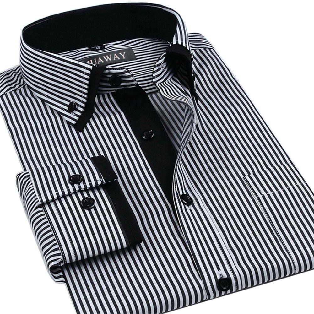HUAWAY Spring Summer New Casual Men's Fashion Striped Shirt for Men Classic Men's Dress Shirt Long-Sleeved Business Fashion