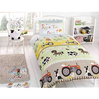 Kids Twin Farm Animals Dogs Sheep Tractor Green Cotton Blend Comforter Cover Set: Home & Kitchen