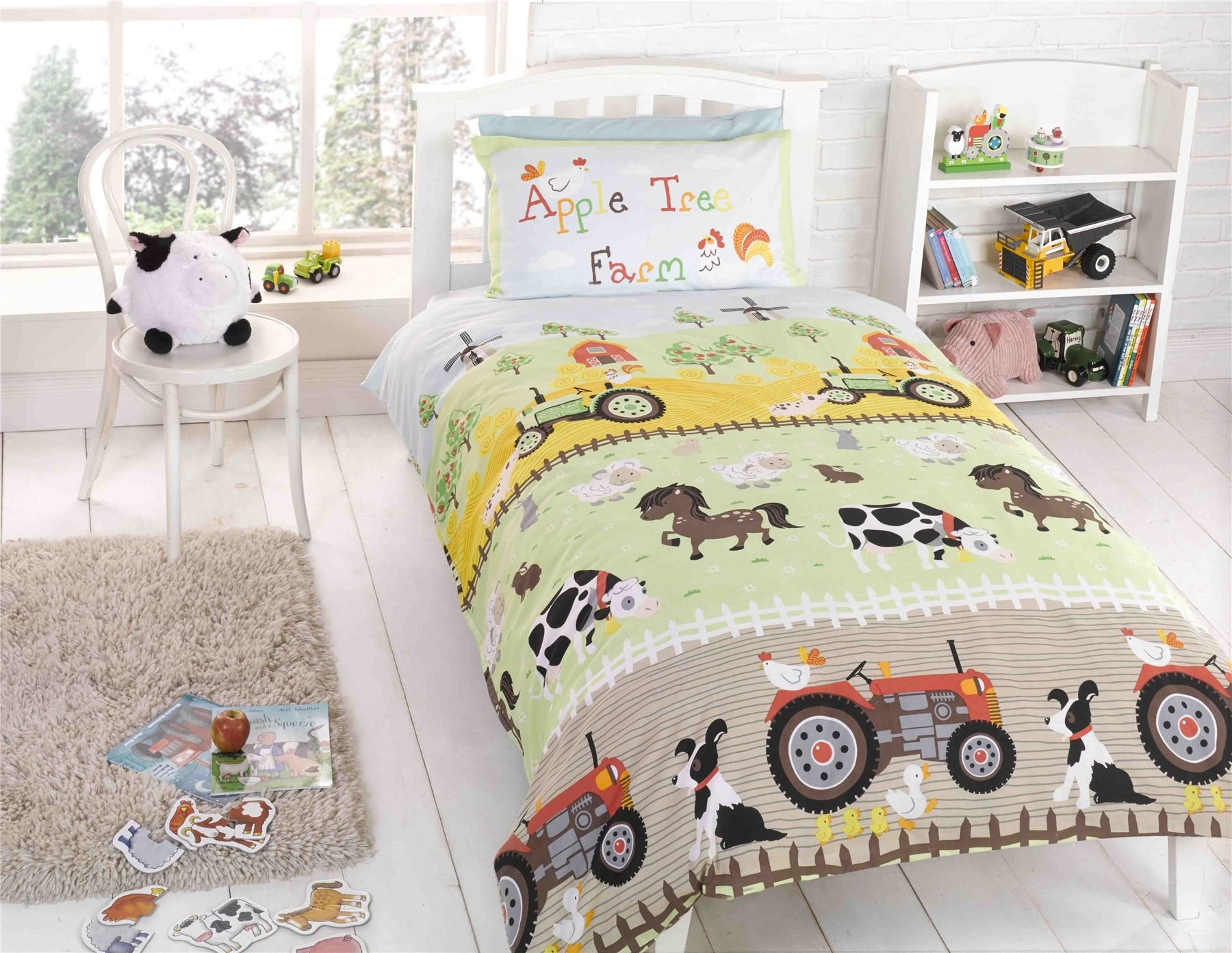 KIDS TWIN FARM ANIMALS DOGS SHEEP TRACTOR GREEN COTTON BLEND COMFORTER COVER SET