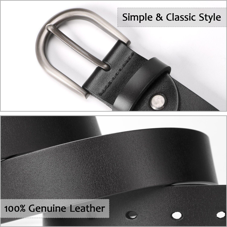 Women Belts for Jeans Dress Pants,SUOSDEY Black Genuine Leather Belts for Women by SUOSDEY (Image #4)