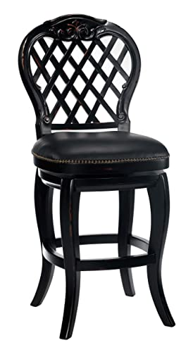 Hillsdale – Braxton Wood Bar Stool with Black Leather Seat