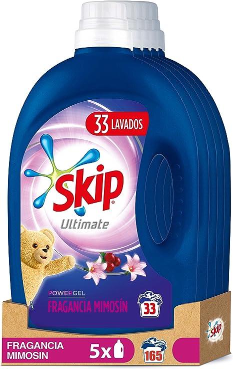 Skip Ultimate Triple Poder Fragancia Mimosín Detergente Líquido para Lavadora - Paquete de 5 x 33 lavados - Total: 165 lavados