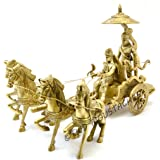 Two Moustaches Krishna Arjuna Rath Chariot with 4 Horses Brass Showpiece | Home Decor |