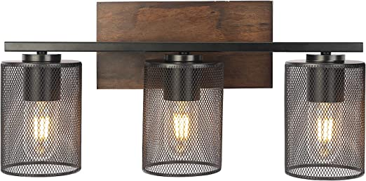 DRNANLIT Rustic Vanity Lights, 3-Light Farmhouse Bathroom Wall Sconce with Antique Wood Finish and Metal Mesh Shade, Wall Lighting Fixture for Living Room Dining Room