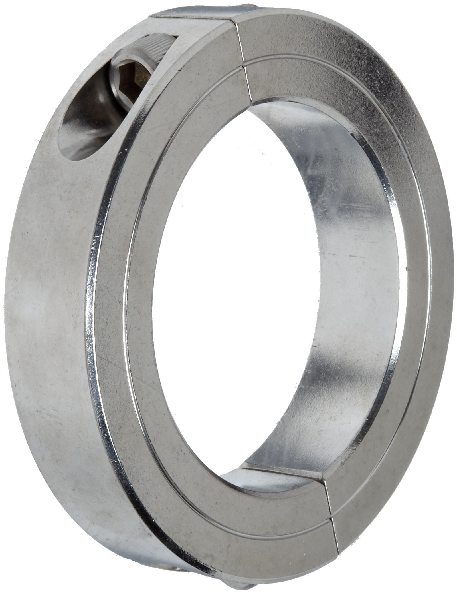 Climax Metal 2C-087-S T303 Stainless Steel Two-Piece Clamping Collar, 7/8'' Bore Size, 1-5/8'' OD, With 1/4-28 x 5/8 Set Screw