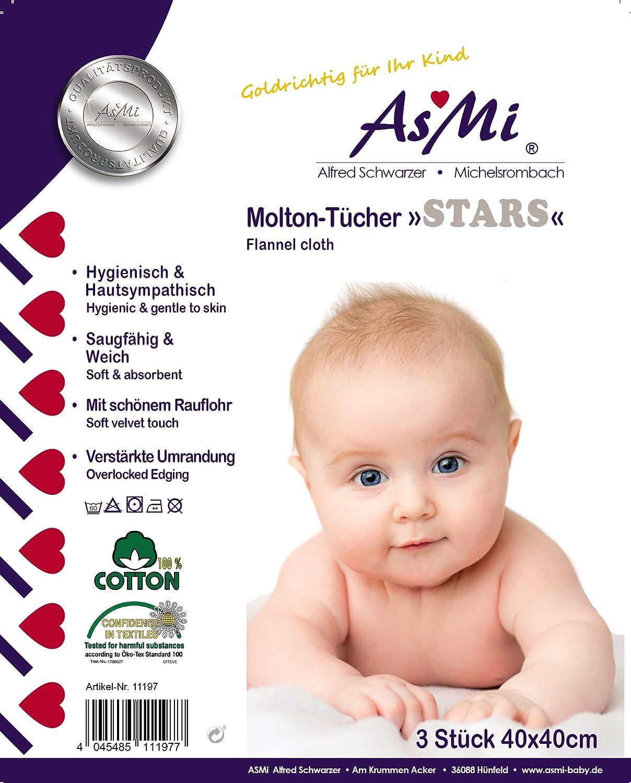 ASMi Serviettes en molleton Lot de 3//étoiles Gris 40/x 40/cm