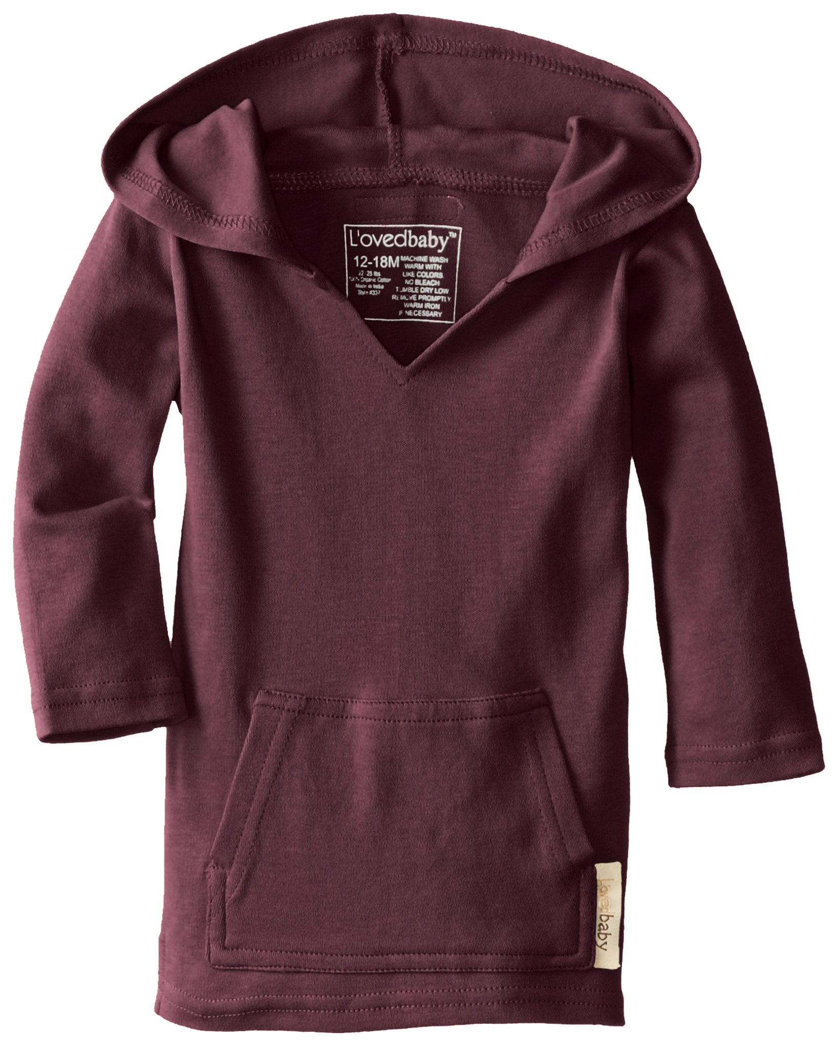 L'ovedbaby Unisex-Baby Newborn Organic Hoodie, Eggplant, 12/18 Months by L'ovedbaby (Image #2)