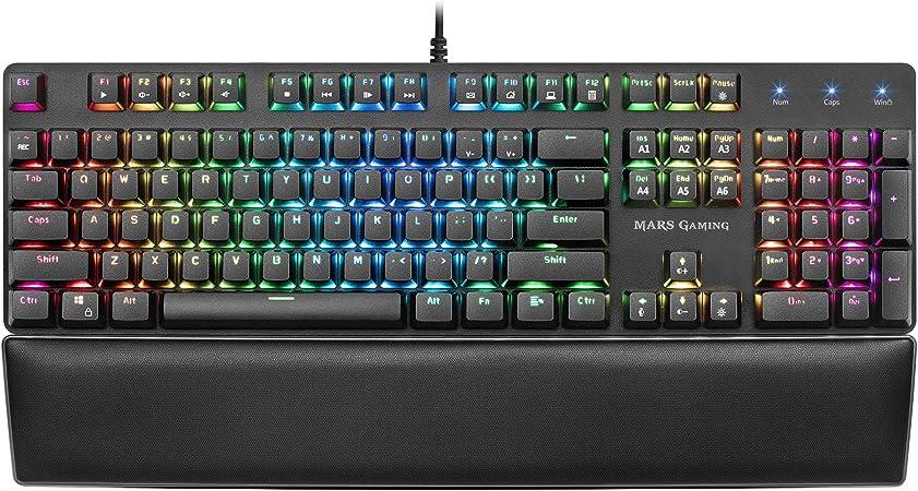 Mars Gaming MK5, teclado mecánico switch rojo, RGB, software, reposamuñecas, US