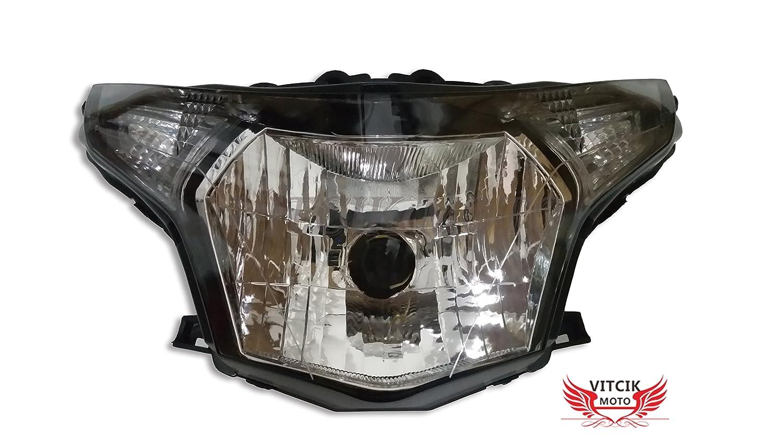 VITCIK Honda ホンダ CBR250RR 2008 2009 2010 2011 2012 2013 CBR250 RR ヘッドライトランプアセンブリキット用のオートバイヘッドライトアセンブリ (ブラック)   B073WV3M4Z