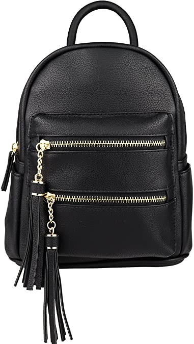 c34f31f66caf B BRENTANO Vegan Multi-Zipper Top Handle Mini Backpack with Tassel Accents ( Black)