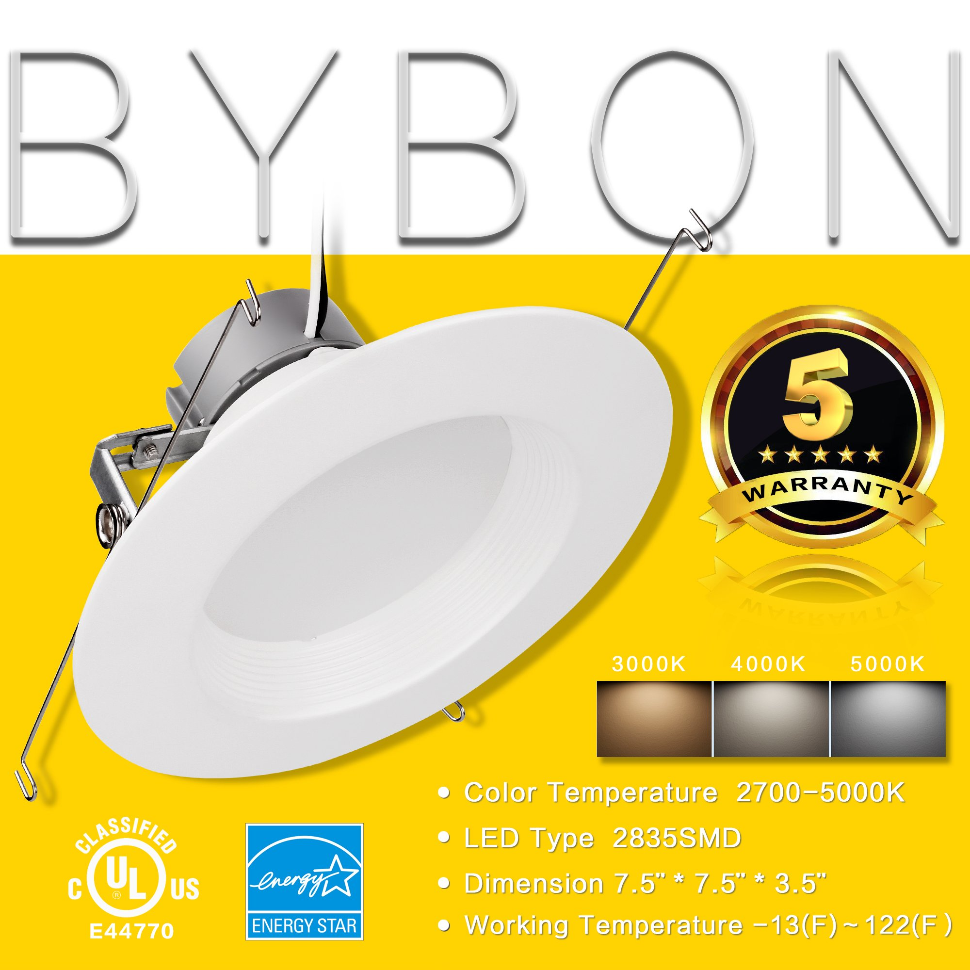 6'' Inch LED Can And Trim Combo -12W New Construction Insulation Contact IC Rated Downlight - UL and Energy Star Rated (5000 Kevin, 2 Each)
