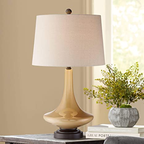 Leigh Mid Century Modern Table Lamp Warm Tan Glass Off White Drum ...