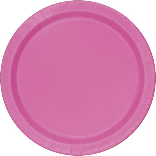 Neon Pink 20-Count Party Essentials Hard Plastic 6-Inch Round Party//Dessert Plates