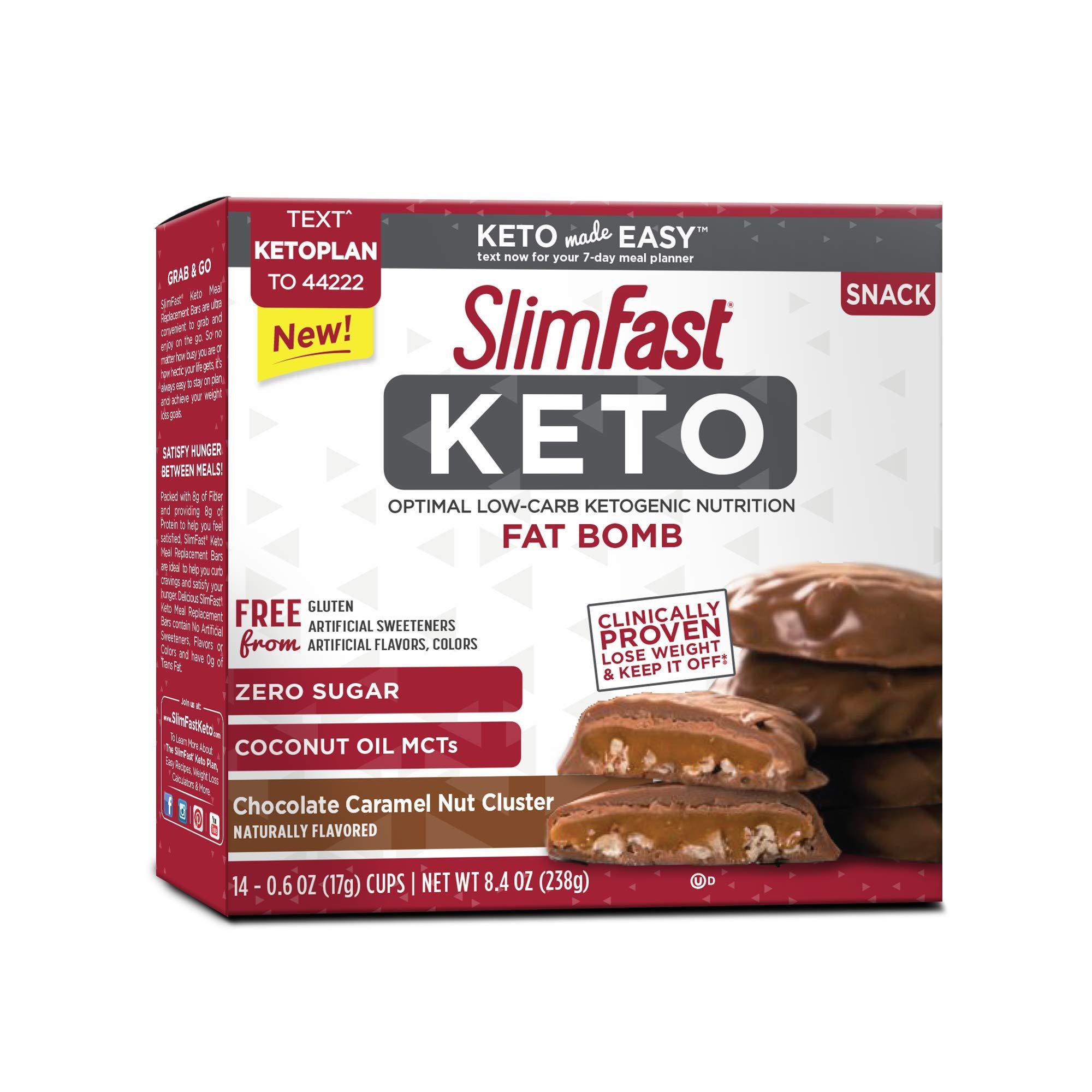 Slimfast Keto Fat Bomb Chocolate Caramel Nut Cluster 0.59 ounce, 14 per box (4 Boxes) by Slimfast Keto