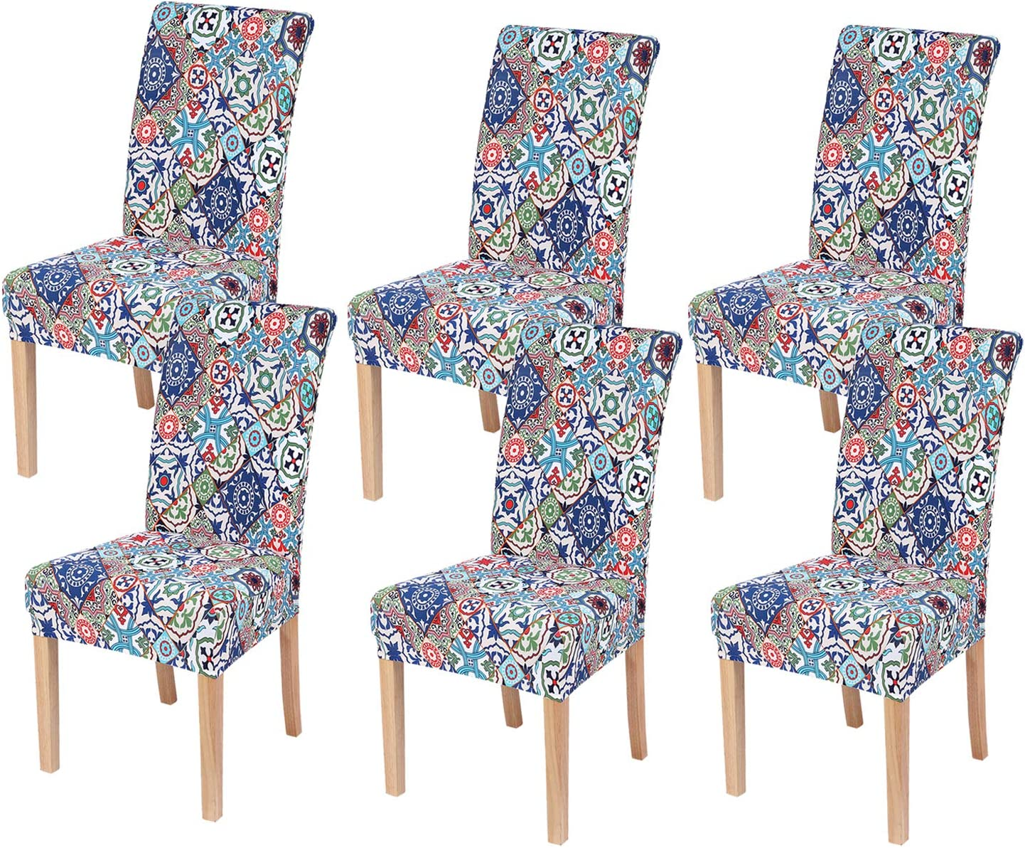 Smiry Stretch Printed Dining Chair Covers, Spandex Removable Washable Dining Chair Protector Slipcovers for Home, Kitchen, Party, Restaurant - Set of 6, Colorful Vintage