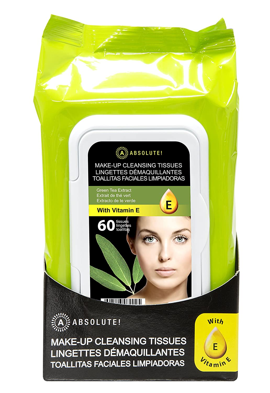 Absolute New York Make-Up Cleansing Tissues Green Tea Extract (60 CT)