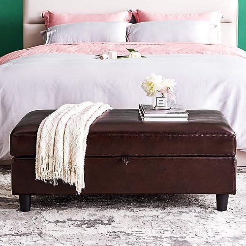 HONBAY 45 inch Storage Bench Ottoman Rectangular Leather Bench with Storage Ottoman with Hydraulic Rod,Brown