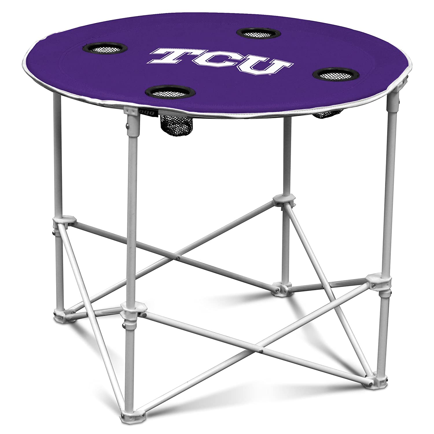 Amazon TCU Horned Frogs Collapsible Round Table with 4 Cup