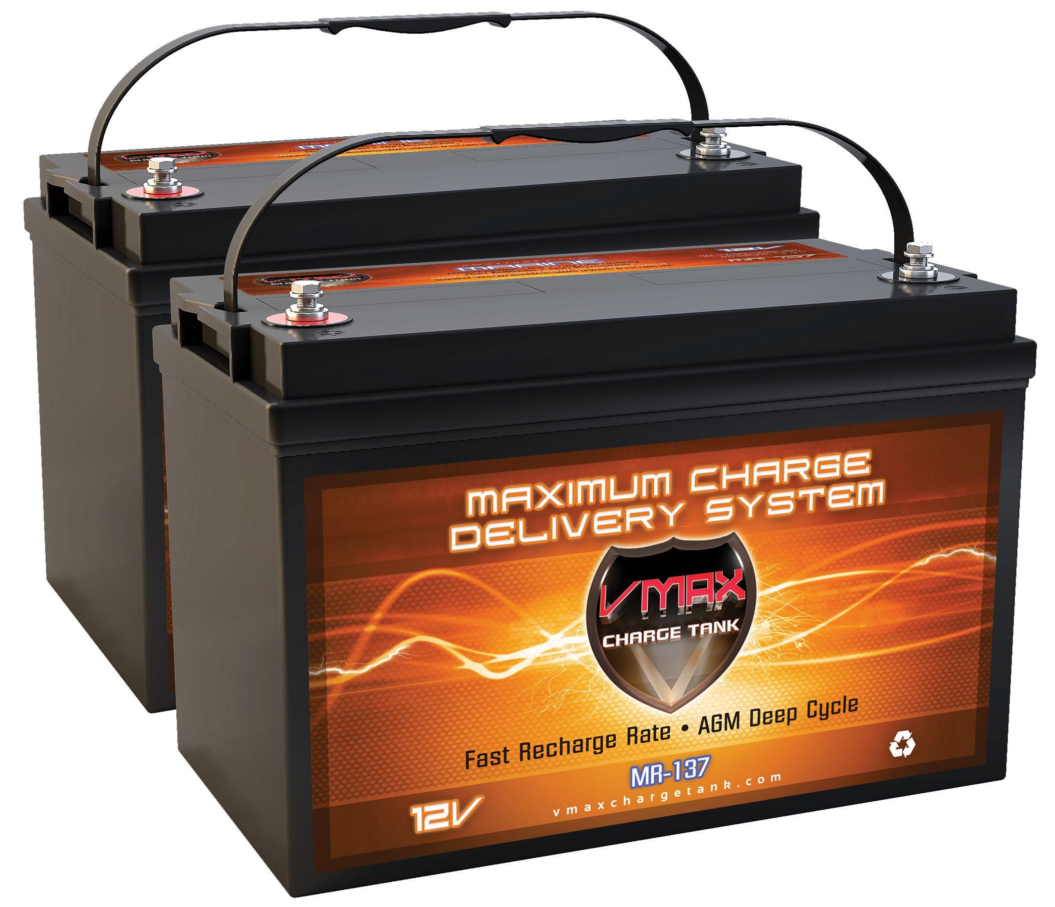 QTY2 VMAX MR137-120 12V 120AH AGM Deep Cycle Group 31 Batteries for Minn Kota Riptide RT80/T Saltwater Transom Mount 24V 80lb Trolling Motor
