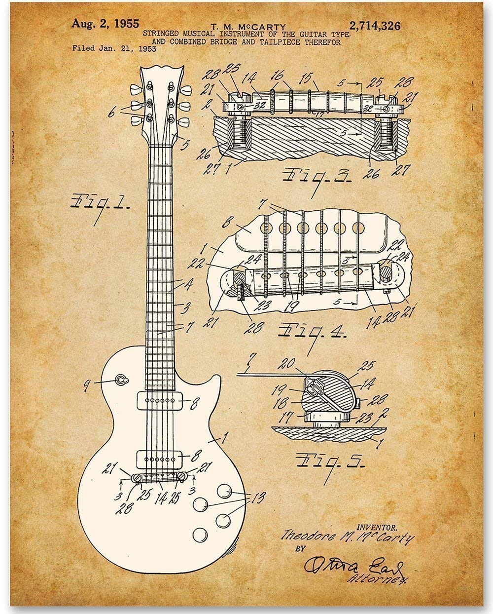 Amazon.com: 1955 McCarty Gibson Les Paul Guitar - 11x14 Unframed ...