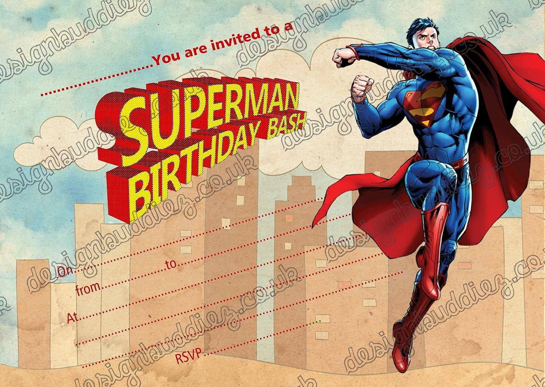 Superman niños parte 10 invitaciones y 10 Envolopes, 10 ...