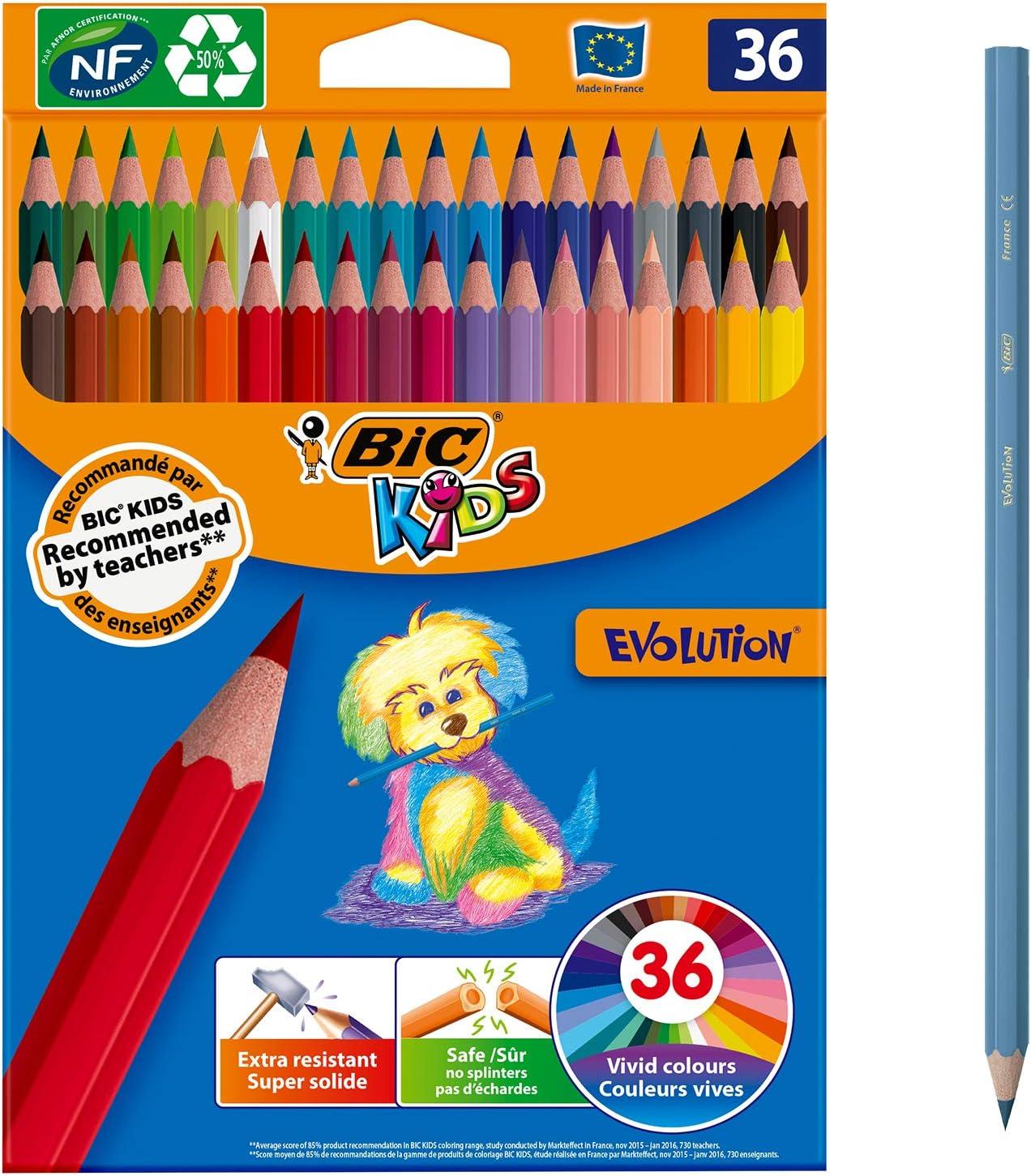BIC Kids Evolution ECOlutions Lápices para Colorear - colores Surtidos, Blíster de 36 unidades: Amazon.es: Oficina y papelería