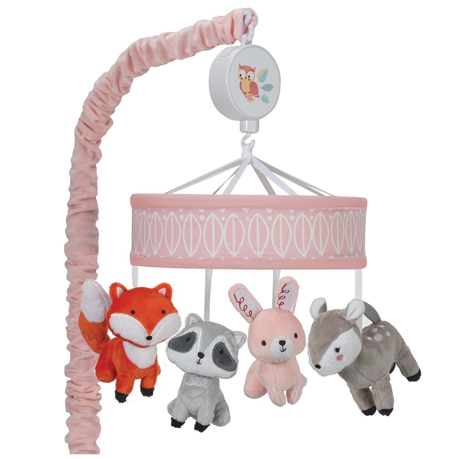 Lambs & Ivy Little Woodland Forest Animals Musical Mobile, Pink/White 698018