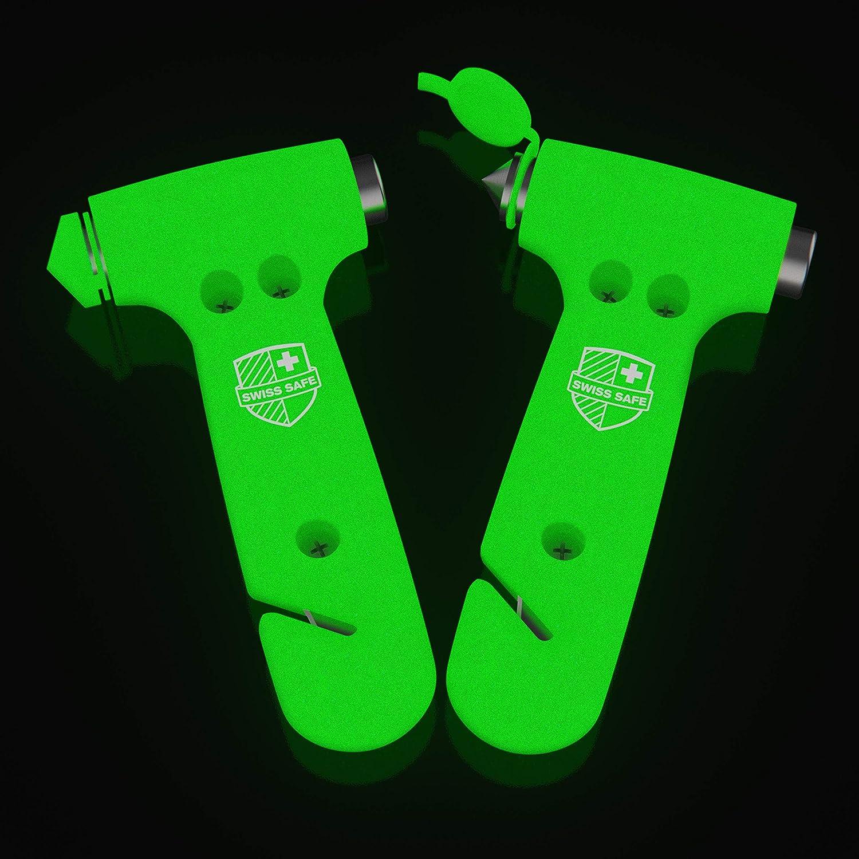 Swiss Safe 5-in-1 Car Safety Hammer (2-Pack Glow-in-Dark)
