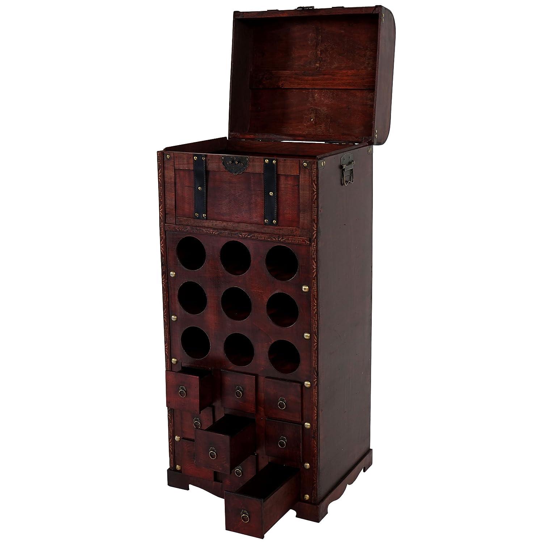 Etagère à vin Calvados pour 9 bouteilles - mobilier de bois - style colonial ~ 104x45x38cm