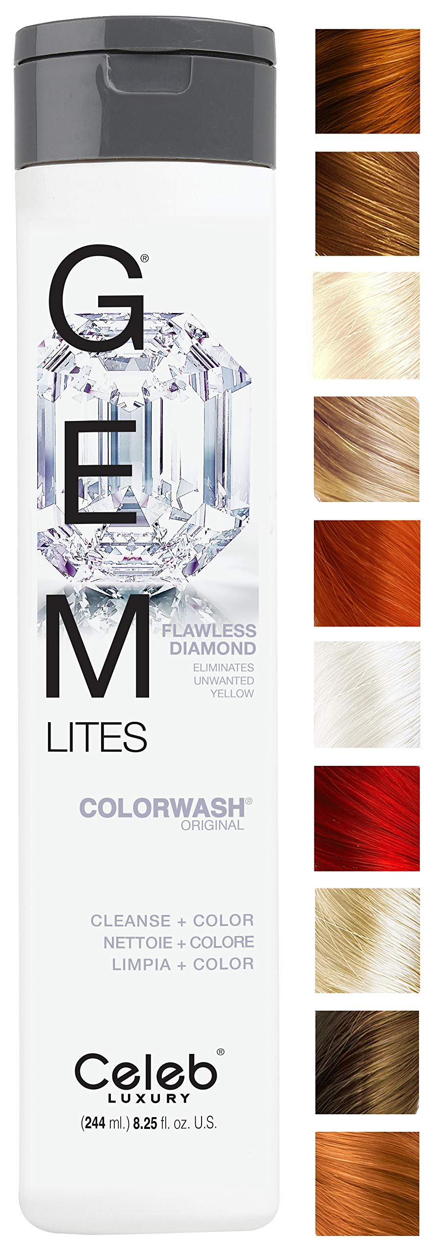 Celeb Luxury Gem Lites Colorwash: Flawless Diamond Eliminate Unwanted Yellow, Color Depositing Shampoo, Stops Fade, Cleanse + Color, Sulfate-Free, Cruelty-Free, 100% Vegan, Better than Purple Shampoo by CELEB LUXURY