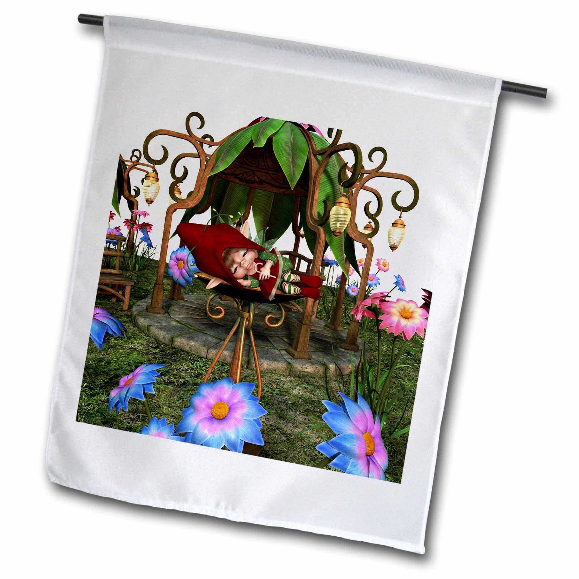 3dRose Spiritual Awakenings Fairies - Sleeping baby fairy in a garden fountain among the flowers - 18 x 27 inch Garden Flag (fl_273421_2)