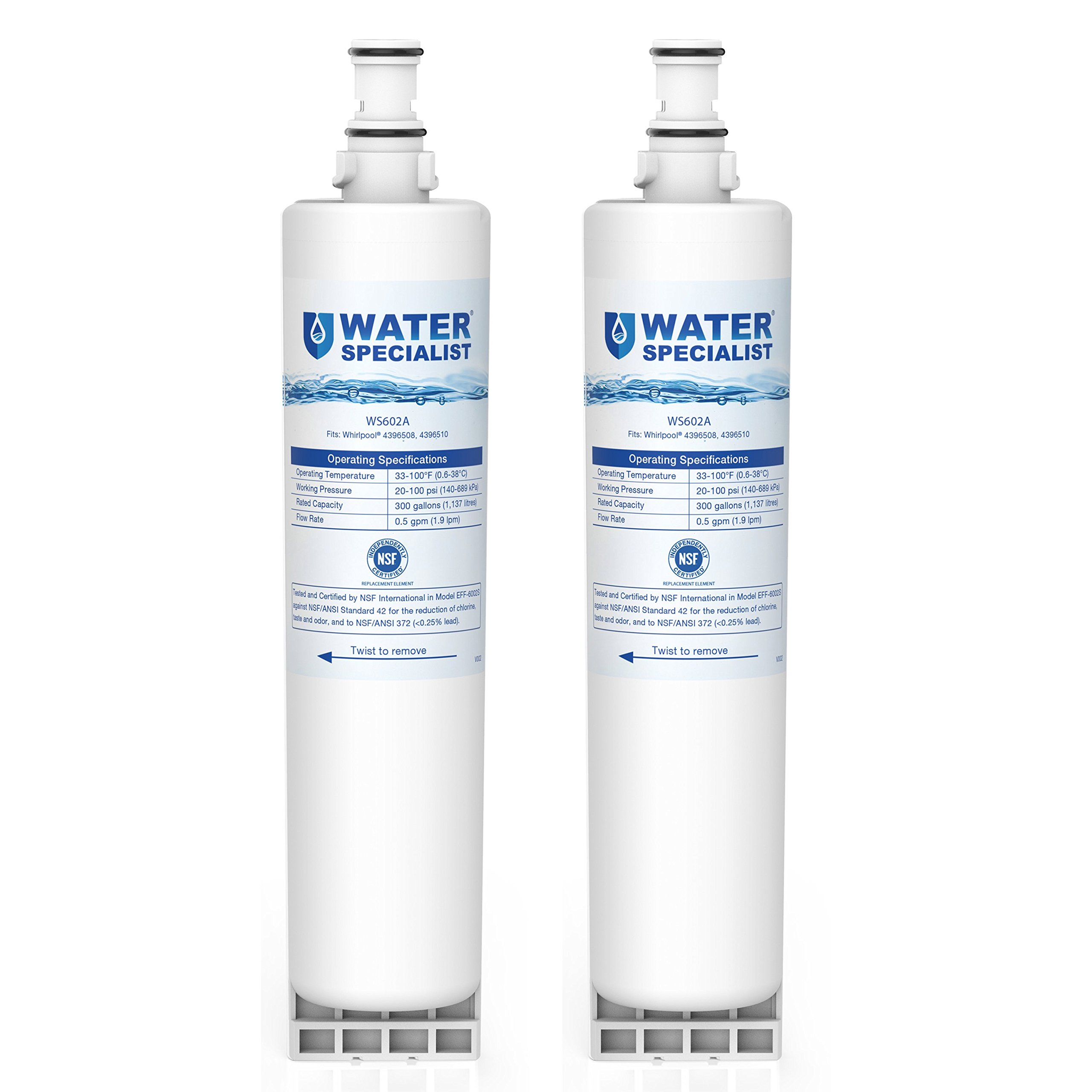 Waterspecialist 4396508 Replacement Refrigerator Water Filter, Compatible with Whirlpool 4396508, EDR5RXD1, EveryDrop Filter 5, 4396510, NLC240V, 4396508P, 4392857, WF-4396508, Kenmore 46-9010, 2 Pack