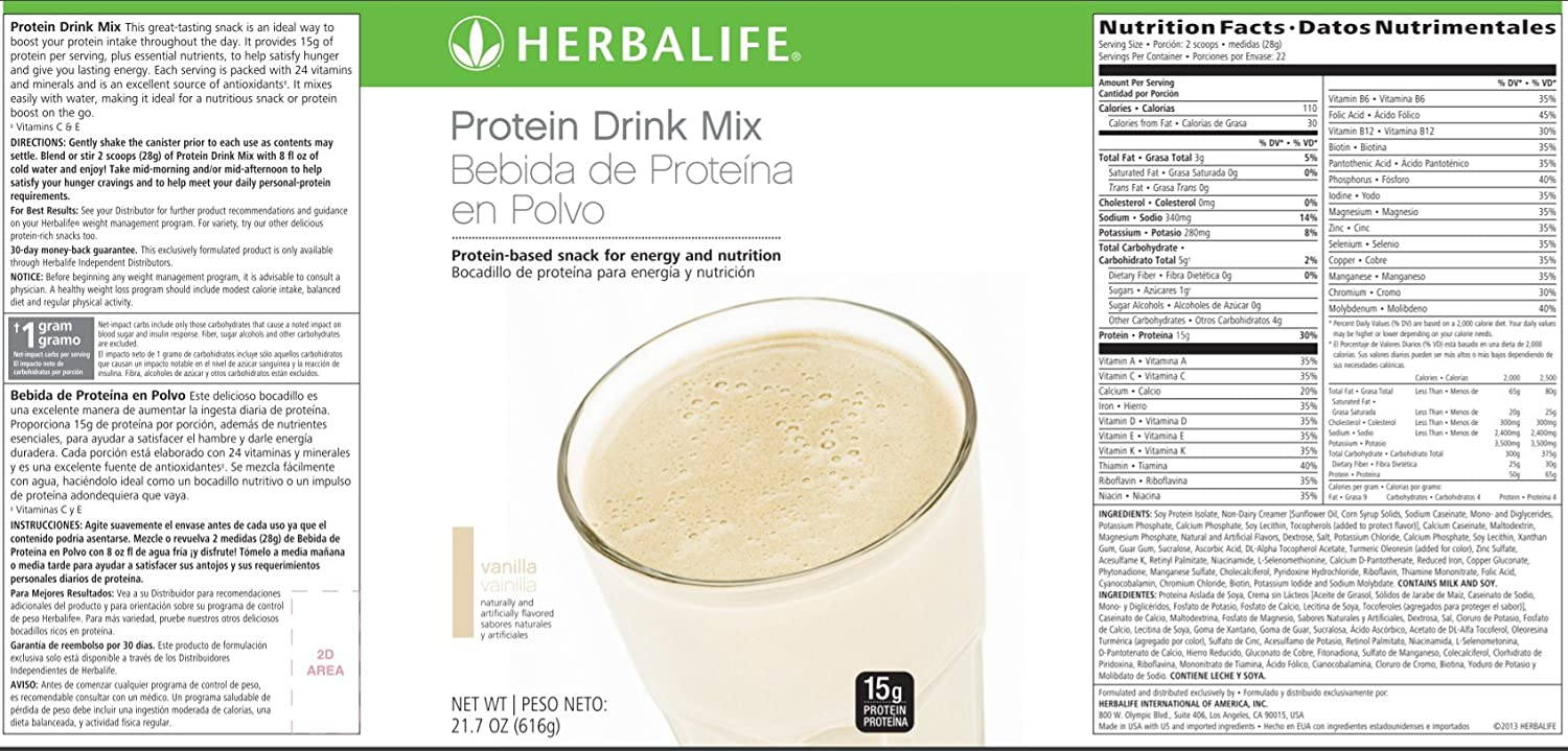 herbalife nutrition label