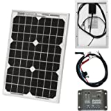Photonic Universe 12V 10W solar power kit mit 5 a Laderegler, Kabel für Wohnwagen, Wohnmobil, Wohnwagen, Boote oder andere 12 V-Systeme (10 watt)
