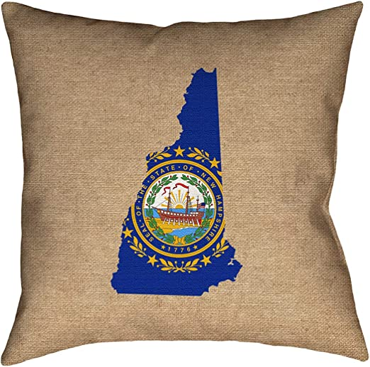 ArtVerse Katelyn Smith 26 x 26 Cotton Twill Double Sided Print with Concealed Zipper /& Insert New Hampshire Love Pillow