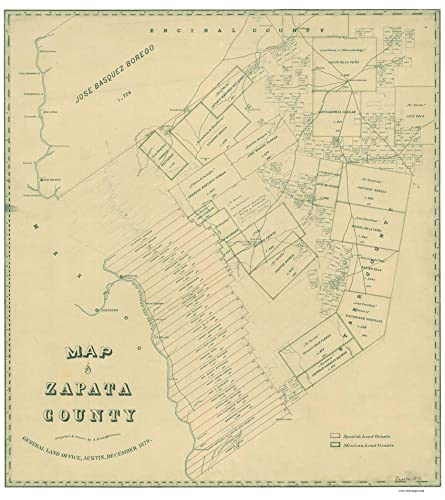 Map Of Zapata Tx.Amazon Com Zapata County Texas 1879 Old Wall Map Reprint With