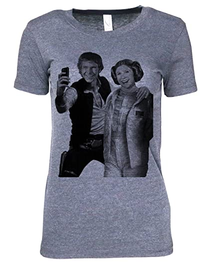 835c8f77 Mission Thread Clothing Womens Star Wars Han Solo Princess Leia Selfie  T-Shirt,Athletic