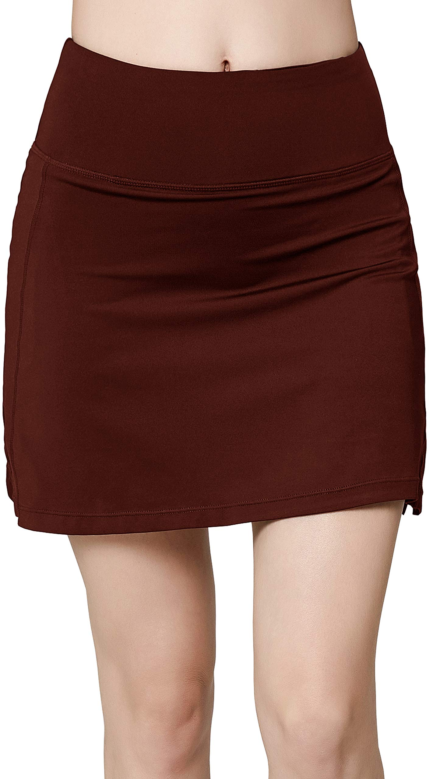 Women's Active Athletic Skirt Sports Golf Tennis Running Pockets Skort Brown L by Oalka