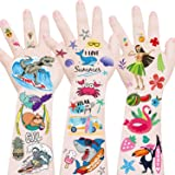 Hawaiian Temporary Tattoo for Kids & Adults - Summer Beach Pool Themed Temporary Tattoos, Tropical Party Decoration Supplies