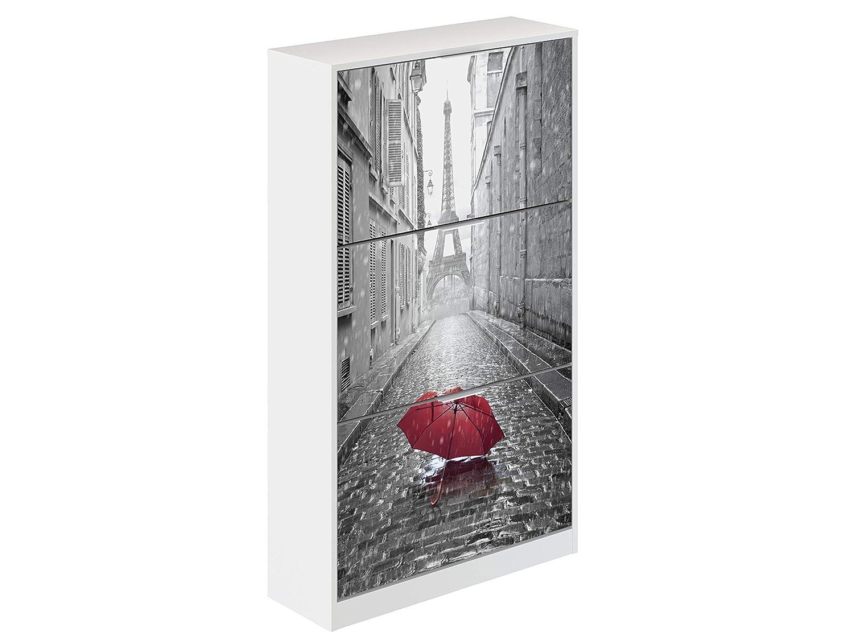 Movian Constance Modern - Armario zapatero de 3 puertas París, 25 x 75 x 128 cm (estampado): Amazon.es: Hogar