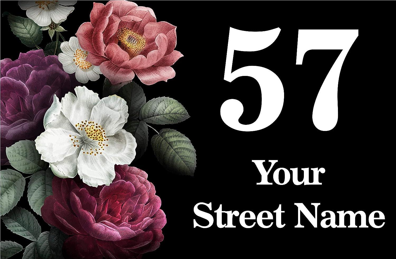 Drill Holes x4 Square Corners Metal Aluminium Personalised Your Address Flowers Sign Door Plaque House 23x15cm