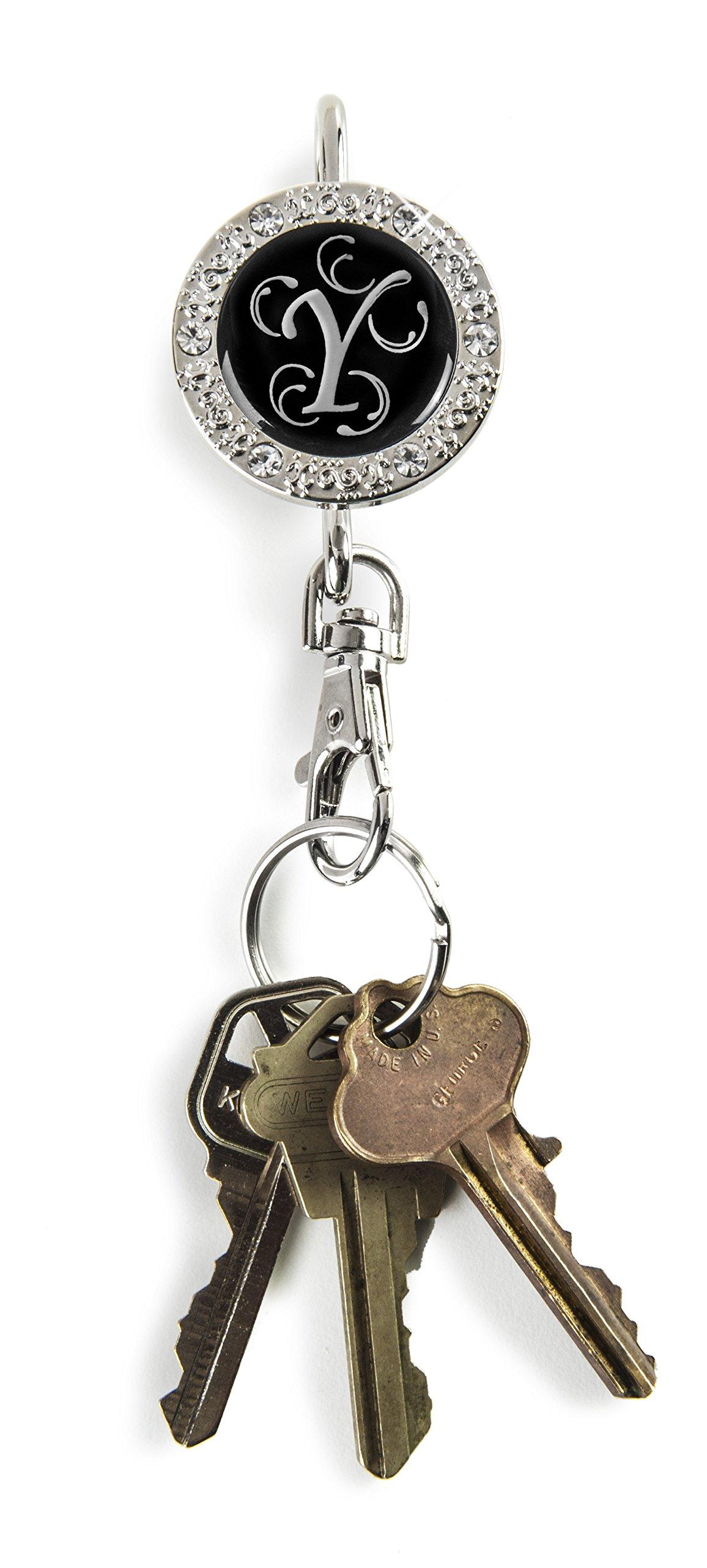 Alexx Finders Key Purse 01B-Mono Y Bling Monogram Y Finders Key Purse, Black