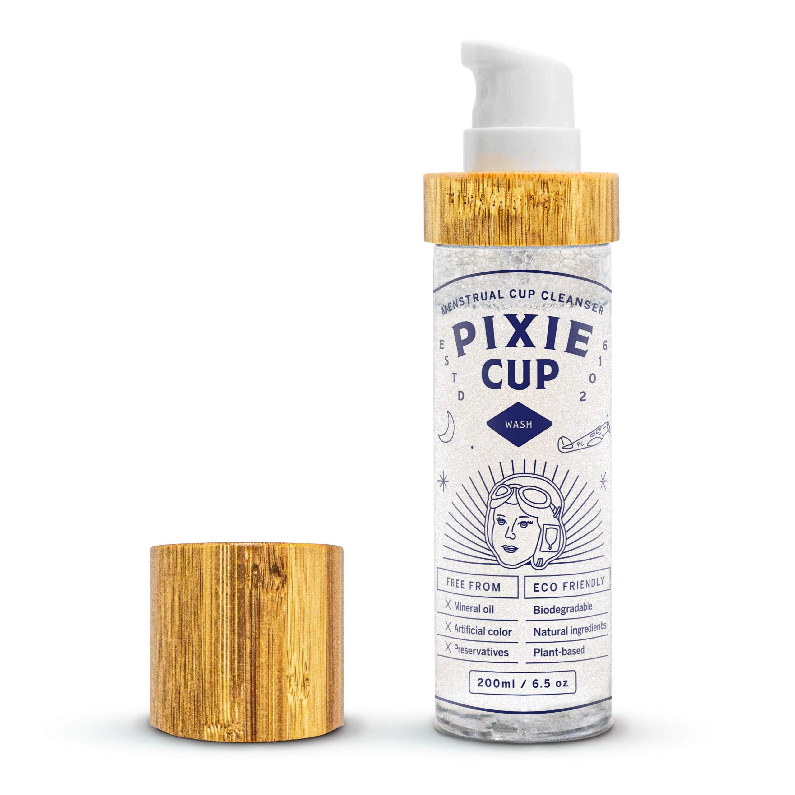 Pixie Menstrual Cup Cleaner Wash - Travel Size - All Organic and Natural Ingredients - Liquid Foaming Dispenser - Healthy and Safest Way to Clean Your Period Cup (200ml)