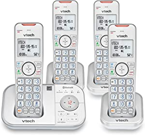 VTECH VS112-47 DECT 6.0 Bluetooth 4 Handset Cordless Phone for Home with Answering Machine, Call Blocking, Caller ID, Intercom and Connect to Cell (Silver & White)