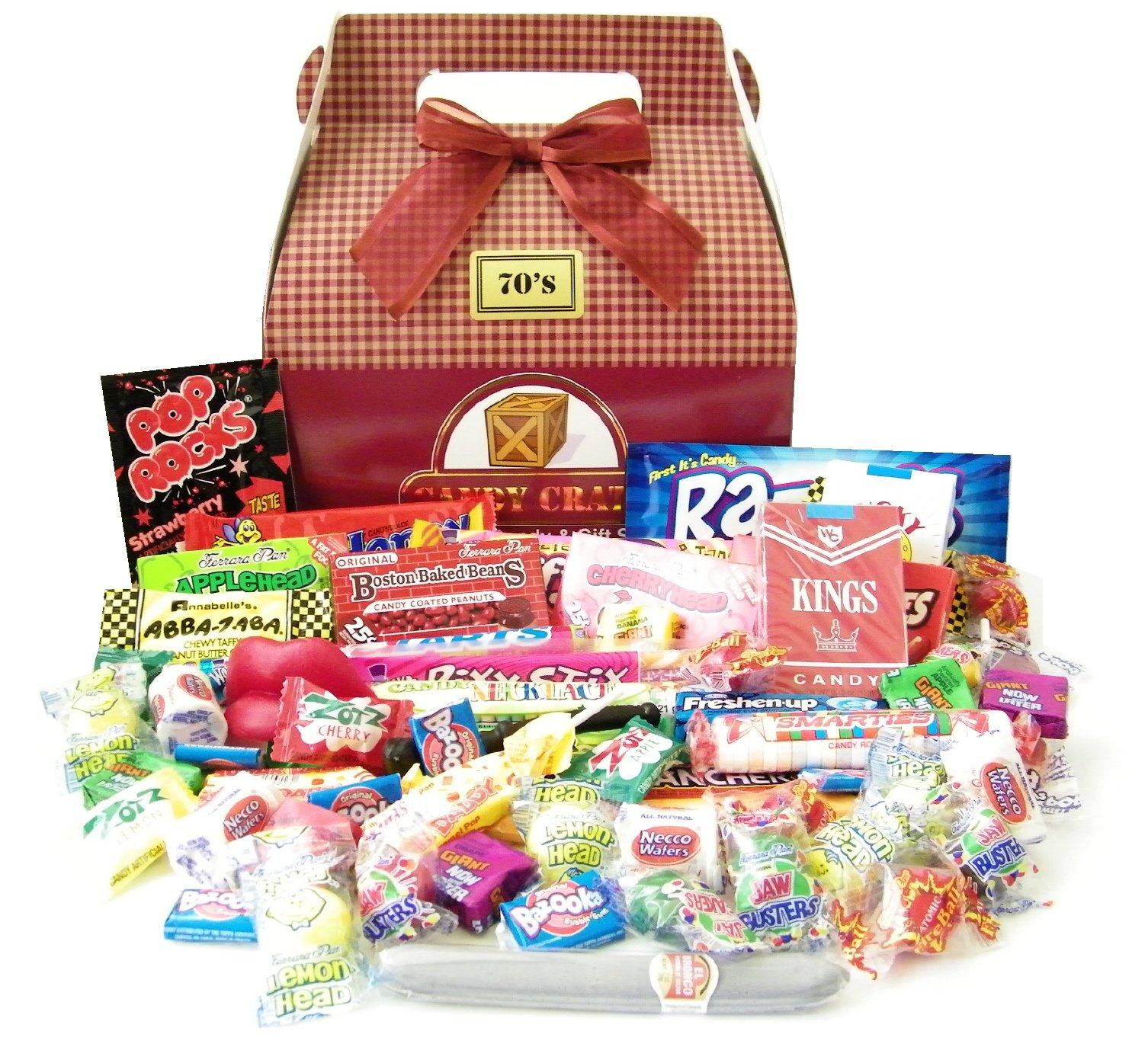 1970's Retro Candy Gift Box, Nostalgic Candy Decade Assortment - Over 50 pieces!