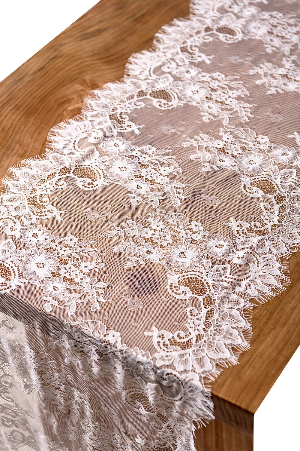 "Crisky 16"" x 120"" Lace Table Runners Lace Overlay with Rose Vintage Embroidered, Thin, Rustic Romantic Wedding Decor, Bridal Baby Girl Shower Decoration - ❤Beautiful rose vintage embroidered lace, adds extra elegance to your wedding ❤Size: Width 16 inch x length 120 inches (10 feet) ❤ Vintage White LACE Table Runners, classic and pretty, best choice for elegant wedding, romantic candlelight dinner, bridal shower, baby shower, birthday party or everyday use! - table-runners, kitchen-dining-room-table-linens, kitchen-dining-room - 81YTAlcz5%2BL -"