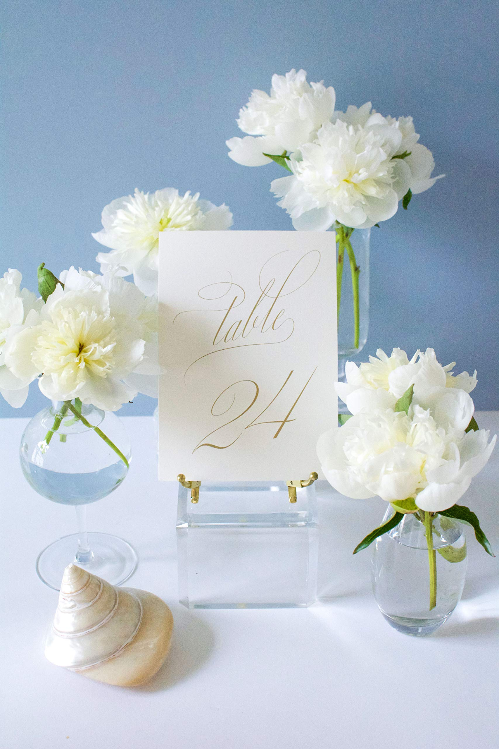 Weekend Paper Co. Classic Gold Wedding Table Numbers, Double Sided 5x7 Calligraphy Design, Numbers 1-25