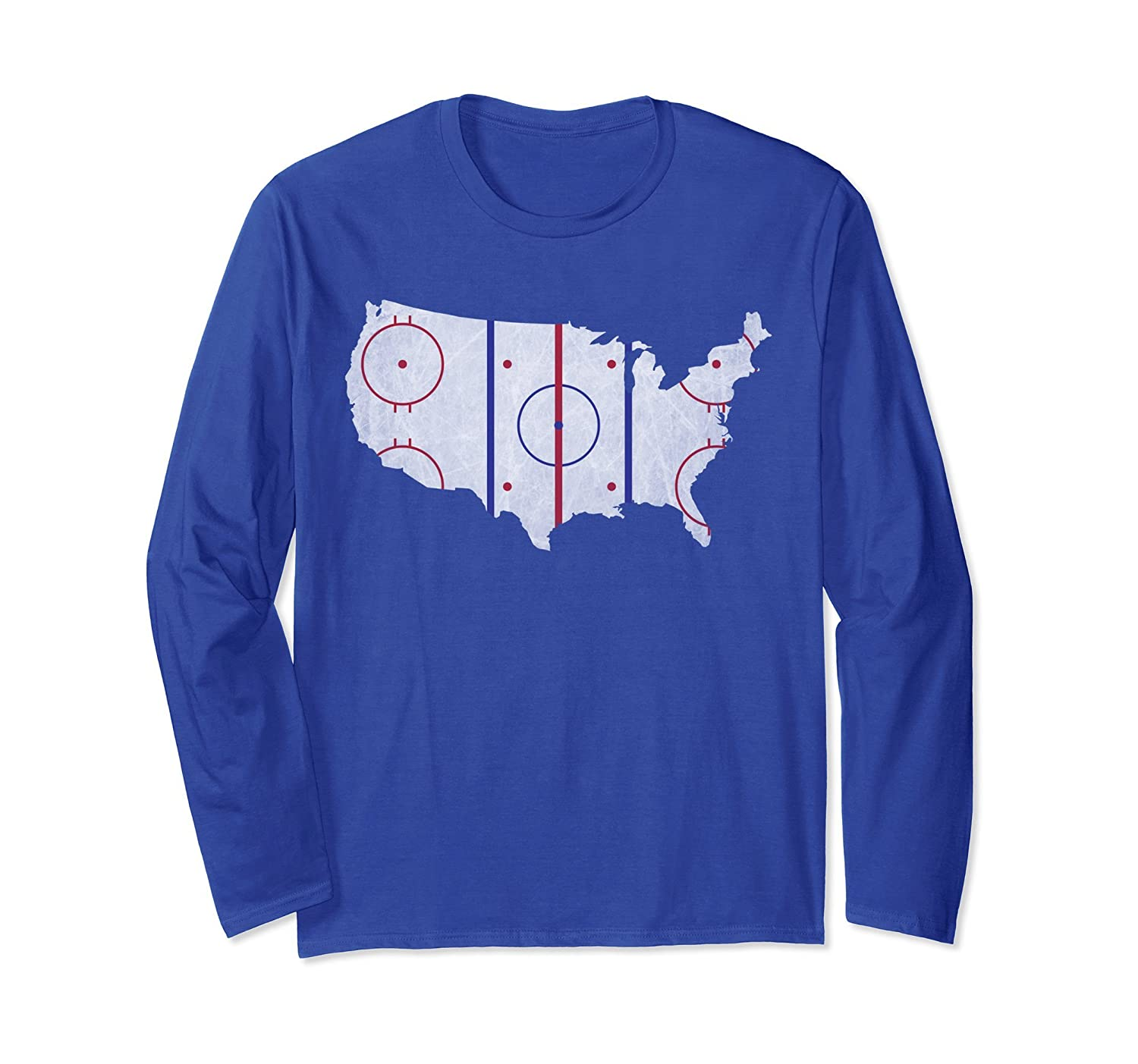 American Hockey Pride | USA Map Design Long Sleeve T-Shirt-AZP