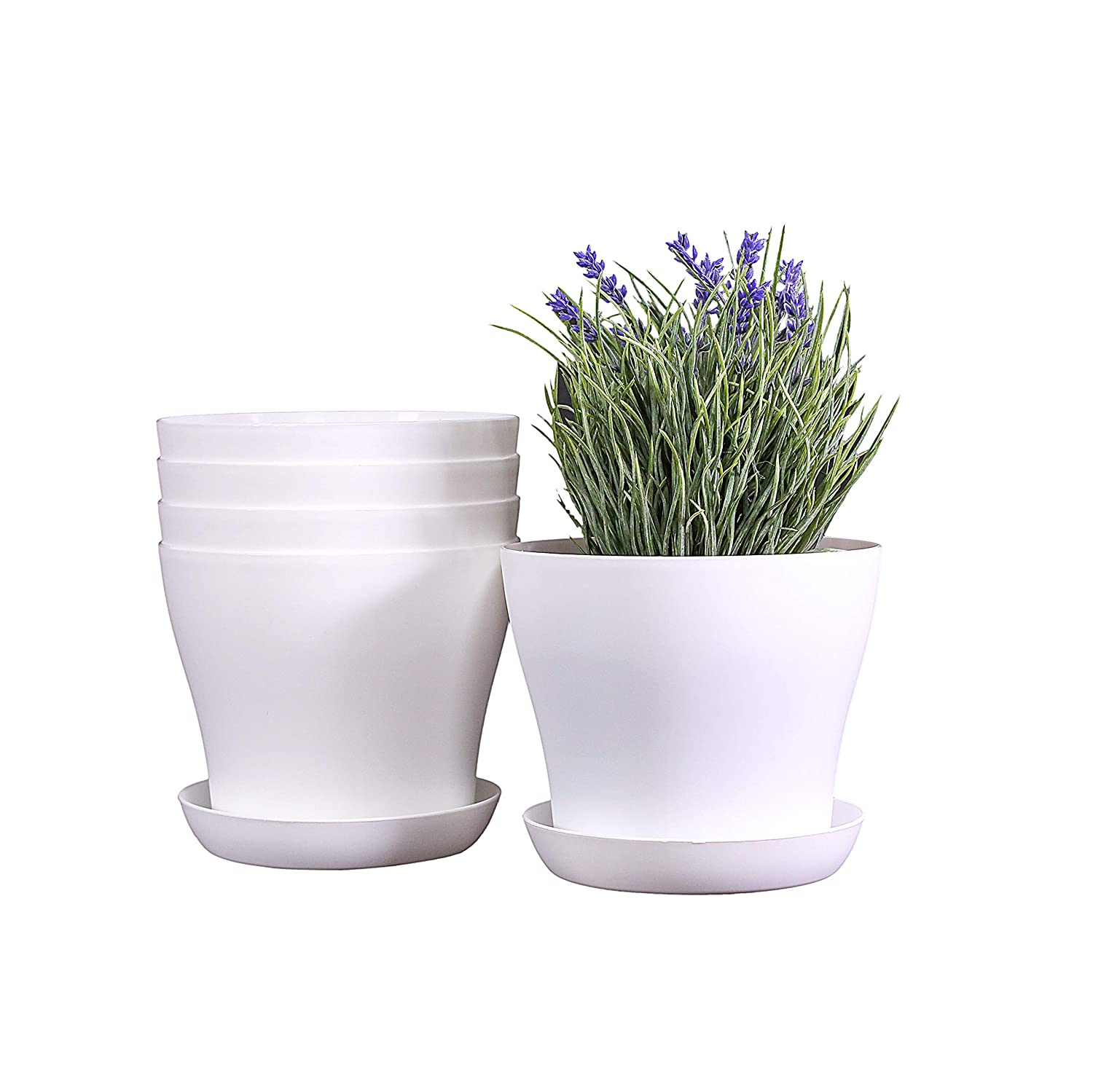 Smoofy 5 PCS Plastic Plant Pots, Plastic Planters with Plant Saucers, Indoor Set of Modern Decorative, Gardening Pot with Drainage for All House Plants, Flowers, Cream White, 6.7 Inch